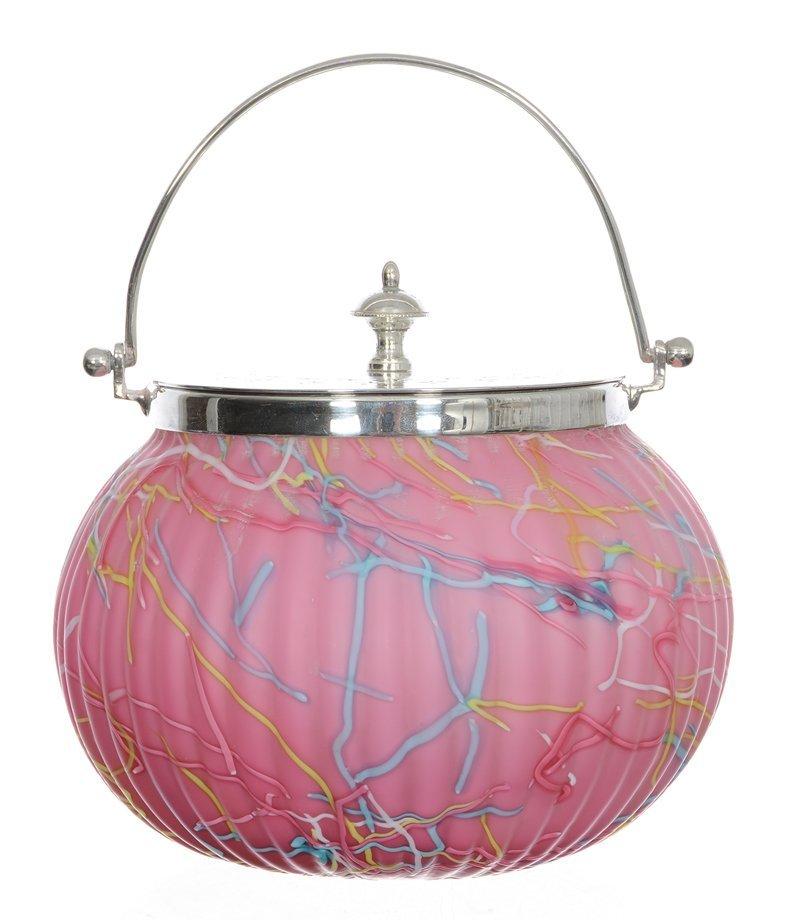 "5 1/2"" X 6"" PELOTON ART GLASS RIBBED BISCUIT JAR"