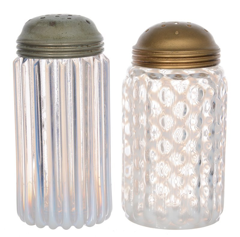 """(2) 5"""" WHITE OPALESCENT RIBBED ART GLASS SUGAR SHAKERS"""