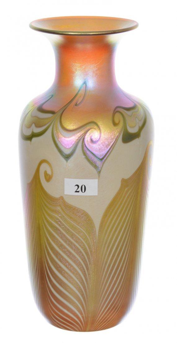 """9 1/4"""" SIGNED QUEZAL ART GLASS VASE"""