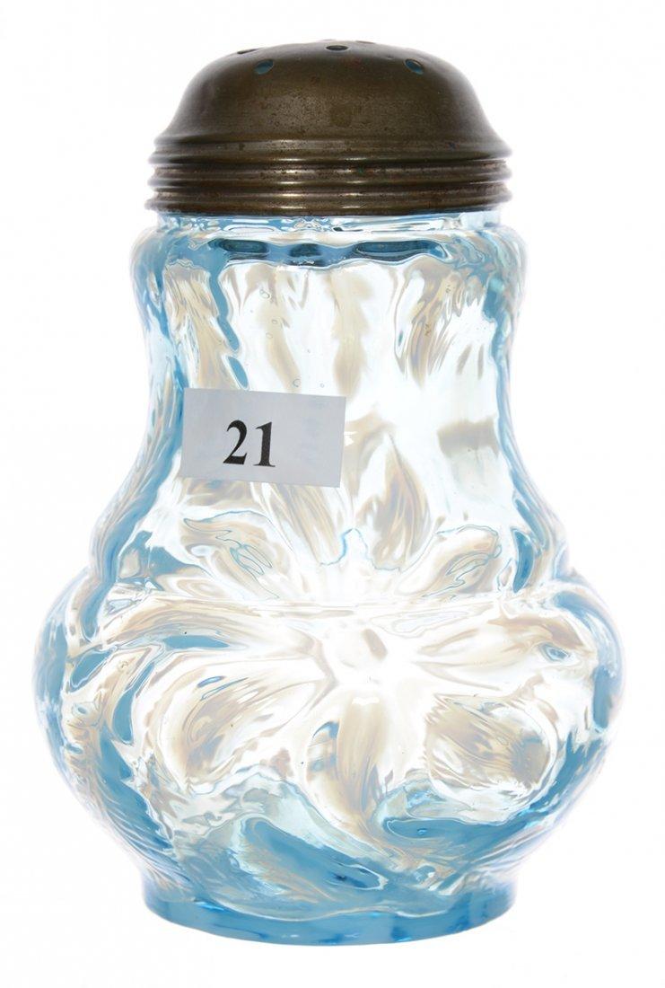 """5"""" BLUE OPALESCENT ART GLASS SUGAR SHAKER"""