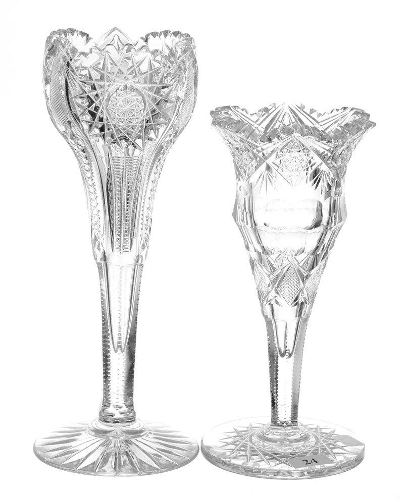 (2) AMERICAN BRILLIANT CUT GLASS VASES INCLUDING
