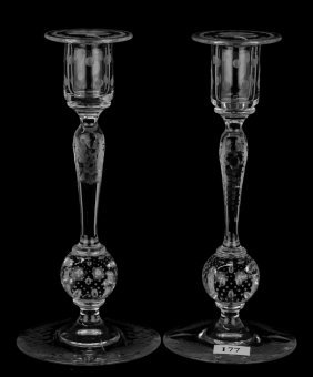 """Pair Candle Sticks - 9"""" - Engraved Floral By Pairpoint"""