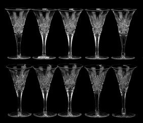 (10) Sherry Glasses - Brazilian Pattern By Hawkes