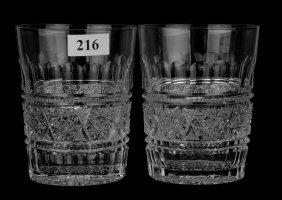 """(2) Tumblers - 3 3/4"""" - Aberdeen Pattern By Jewel Cut"""