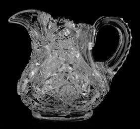 """Two Quart Jug - 8"""" - Signed Libbey Sultana Pattern"""