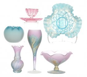 (6) Assorted Art Glass Items Including