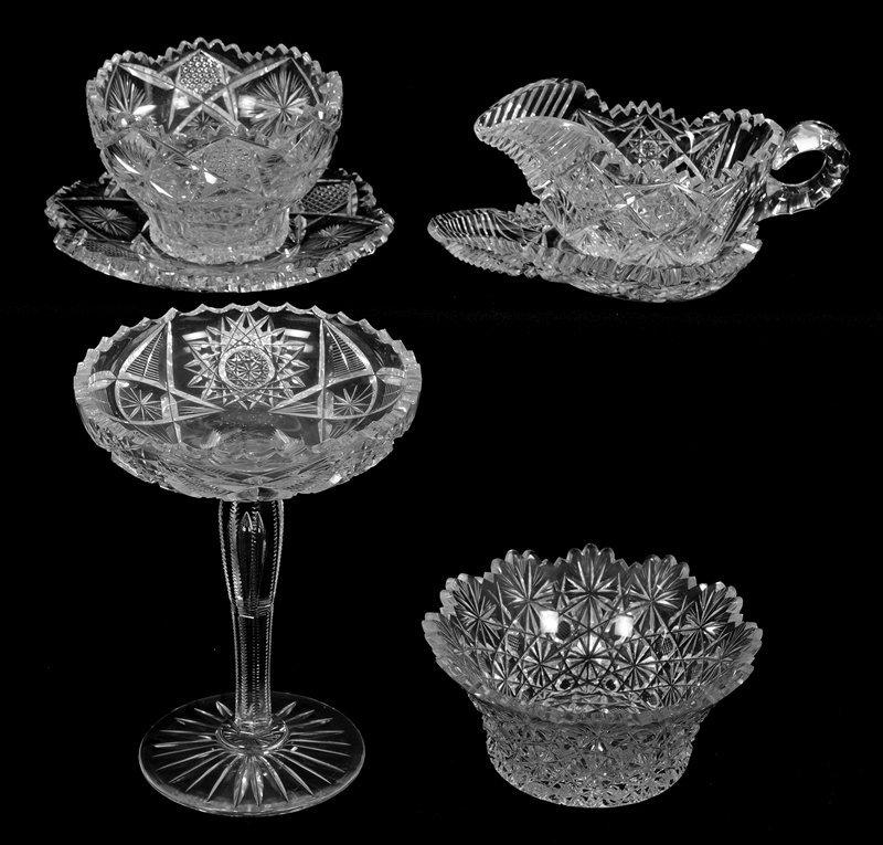 (4) AMERICAN BRILLIANT CUT GLASS ITEMS