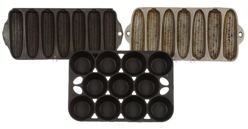 (3) CAST IRON MUFFIN TINS INCLUDING