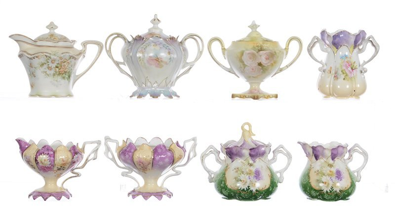 (8) R.S.PRUSSIA CREAMER, SUGAR, SYRUPS AND SPOONER