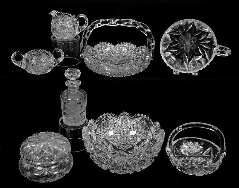 (8) AMERICAN BRILLIANT CUT GLASS ITEMS INCLUDING