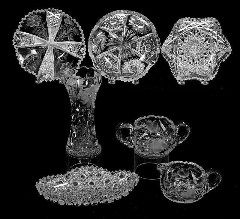 (7) AMERICAN BRILLIANT CUT GLASS ITEMS INCLUDING