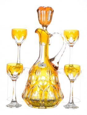 Five Piece Amber To Clear Cut Decanter Set Signed