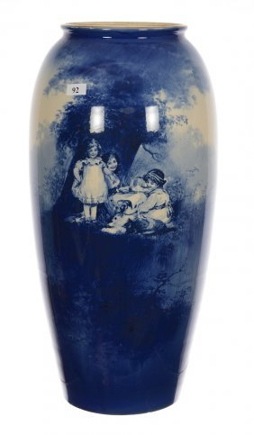"""18 1/4"""" Marked Royal Doulton Flow Blue Babes In Woods"""