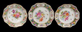 (3) Marked Dresden Floral Plates & Bowl