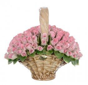 "9 1/2"" X 10"" Modern Capo-di-monte Figural Flower Basket"