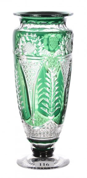 "8"" Emerald Green Cut To Clear Pedestal Vase"