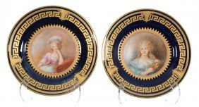 """Pair 9 1/2"""" Limoges Portrait Plates Marked """"wright"""