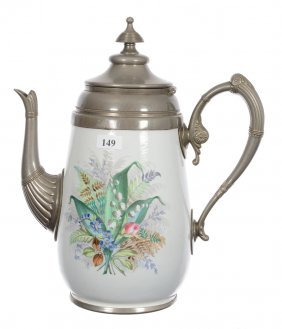 """11"""" Enamel And Pewter Coffee Pot"""