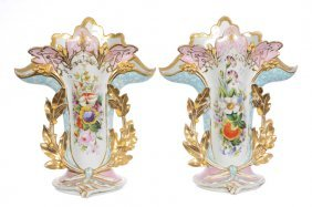 "Pair 15 1/2"" Old Paris Spill Vases"