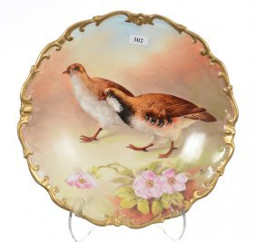 """11 3/4"""" Limoges Charger With Game Bird And Floral Decor"""