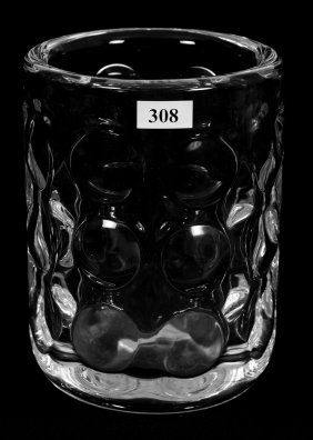 "6 3/4"" X 5"" Signed Orrefors Crystal Vase With Optic"