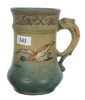 "5"" Marked Weller Dickensware Art Pottery Mug"