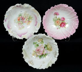 "(3) 10 1/2"" Marked Germany Floral Bowls"