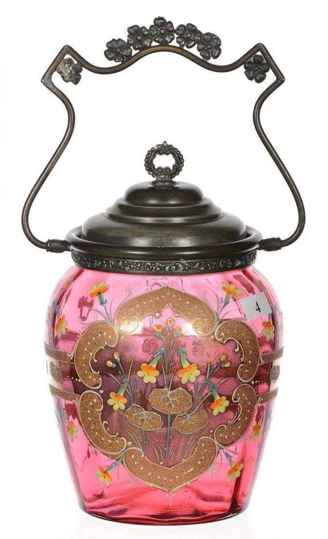 "8"" CRANBERRY ART GLASS BISCUIT JAR"