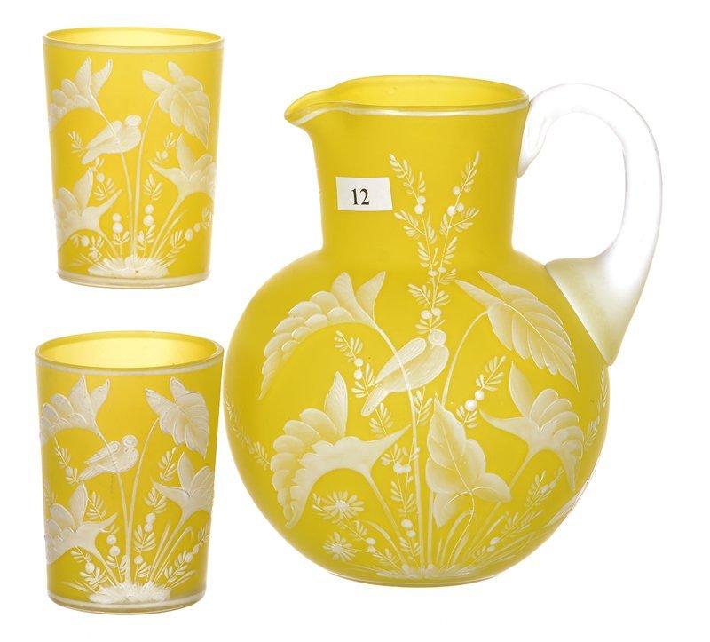 """7.25"""" BRIGHT YELLOW FLORENTINE CAMEO ART GLASS WATER"""
