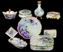 (9) HANDPAINTED ITEMS WITH VIOLET DECOR