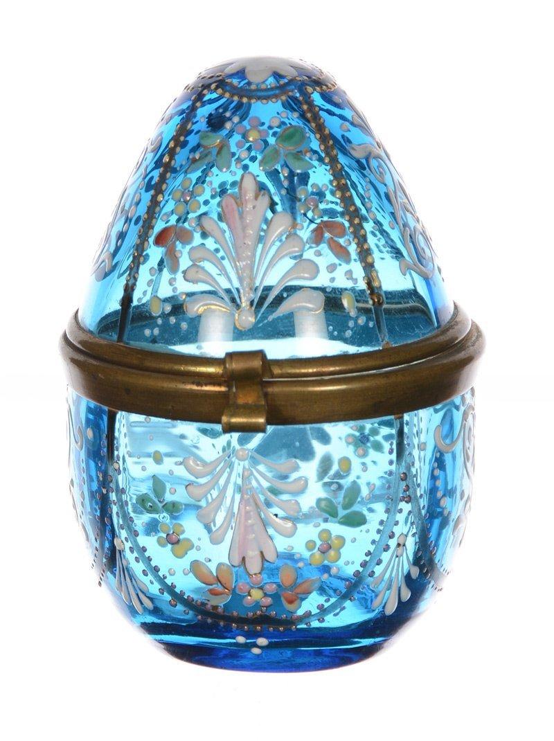 "3"" BLUE ART GLASS EGG-SHAPED HINGED BOX"