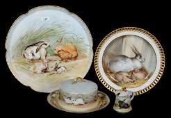 (4) LIMOGES HAND PAINTED ITEMS WITH RABBIT DECOR