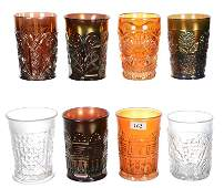 8 CARNIVAL GLASS TUMBLERS INCLUDING