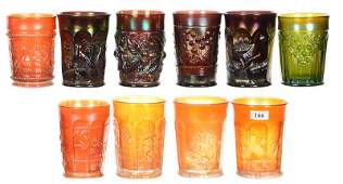 10 CARNIVAL GLASS TUMBLERS INCLUDING