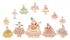 LARGE ASSORTMENT OF (12) FIGURAL DRESDEN-STYLE LACE