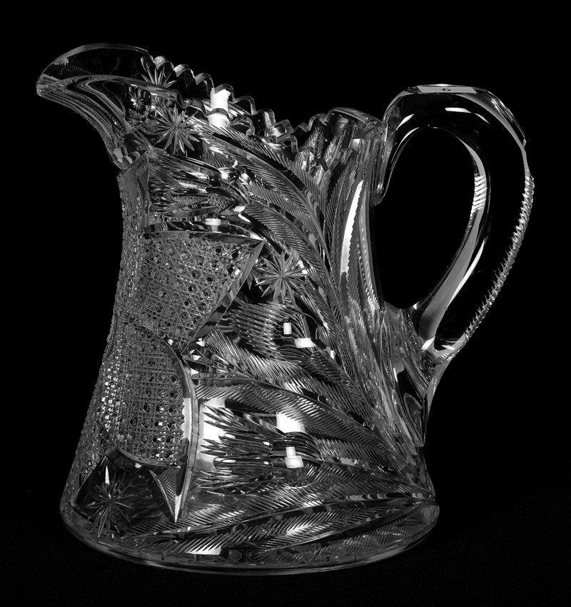 "9"" AMERICAN BRILLIANT CUT GLASS WATER PITCHER"