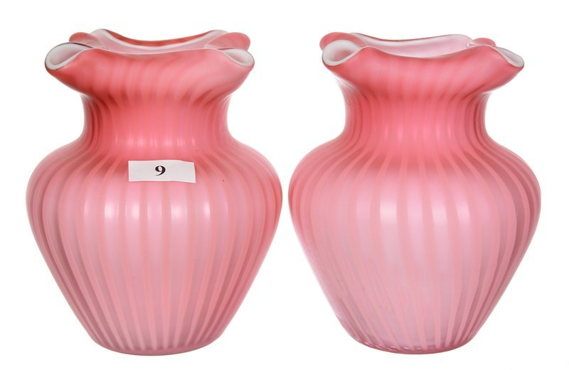 "PAIR 5"" PINK SATIN MOTHER OF PEARL RIBBON PATTERN VASES"