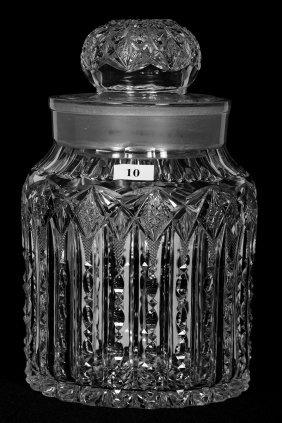 "9 3/4"" AMERICAN BRILLIANT CUT GLASS HUMIDOR"