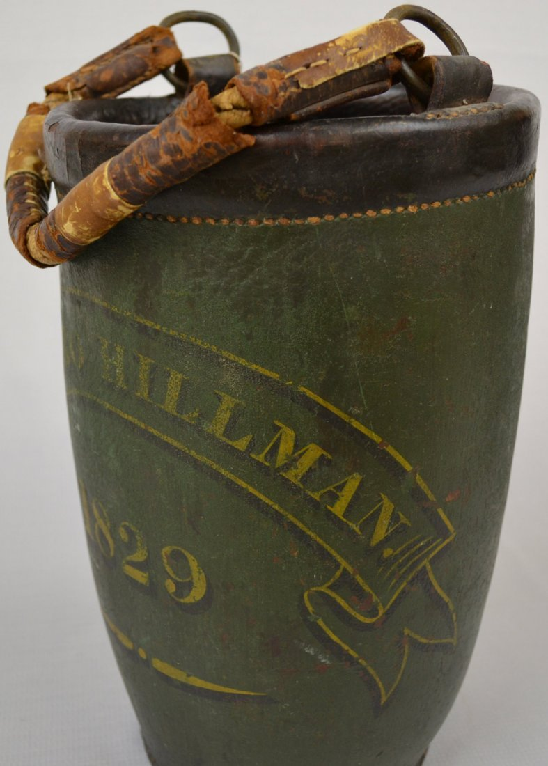 "VINTAGE 13"" ALL LEATHER FIREMAN'S BUCKET - 4"