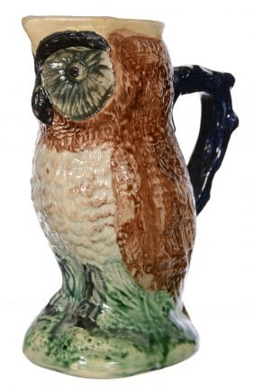 """8.25"""" UNMARKED MAJOLICA FIGURAL OWL PITCHER"""