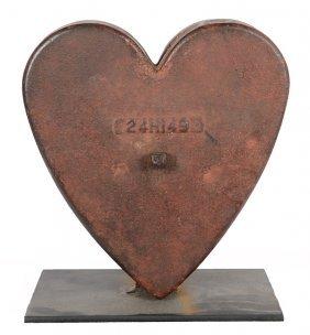 "10"" X 9"" ORIGINAL 19TH CENTURY CAST IRON HEART COUNTER"
