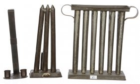 (3) PRIMITIVE CANDLE RELATED ITEMS INCLUDING