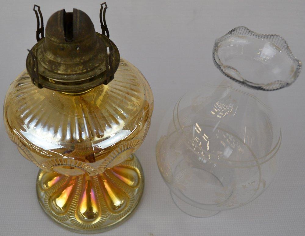 "10"" MARIGOLD CARNIVAL GLASS ZIPPERED LOOP PATTERN LAMP - 2"
