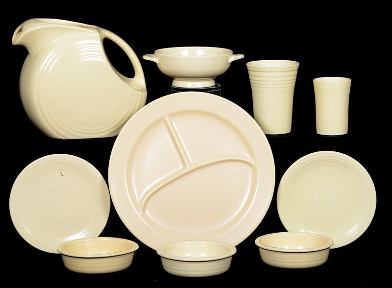 (10) FIESTA WARE POTTERY ITEMS - CREAM TONES -