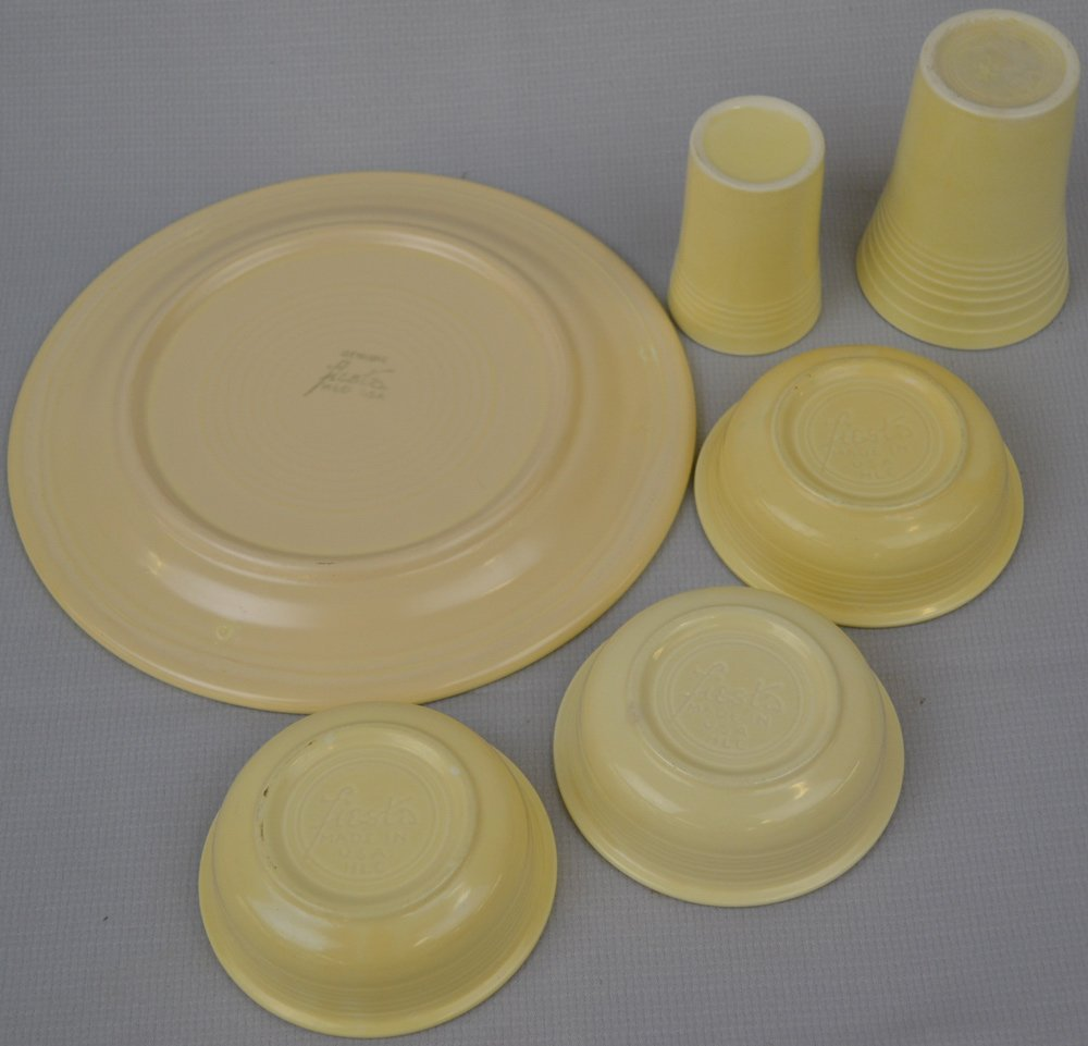 (10) FIESTA WARE POTTERY ITEMS - CREAM TONES - - 2