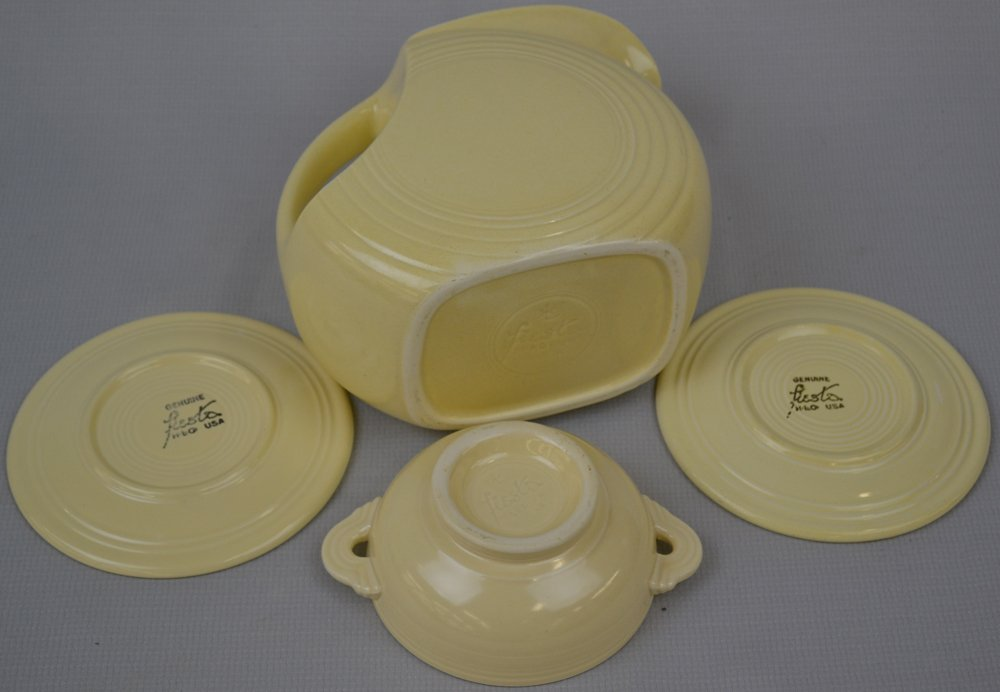 (10) FIESTA WARE POTTERY ITEMS - CREAM TONES - - 3