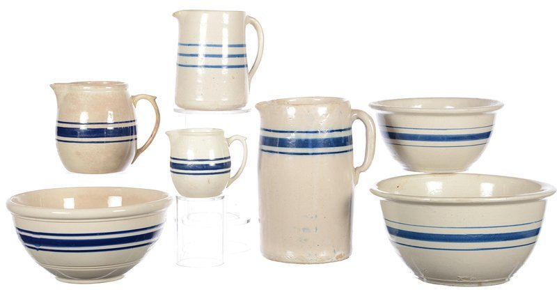 (7) STONEWARE ITEMS WITH BLUE STRIPE DESIGN INCLUDING