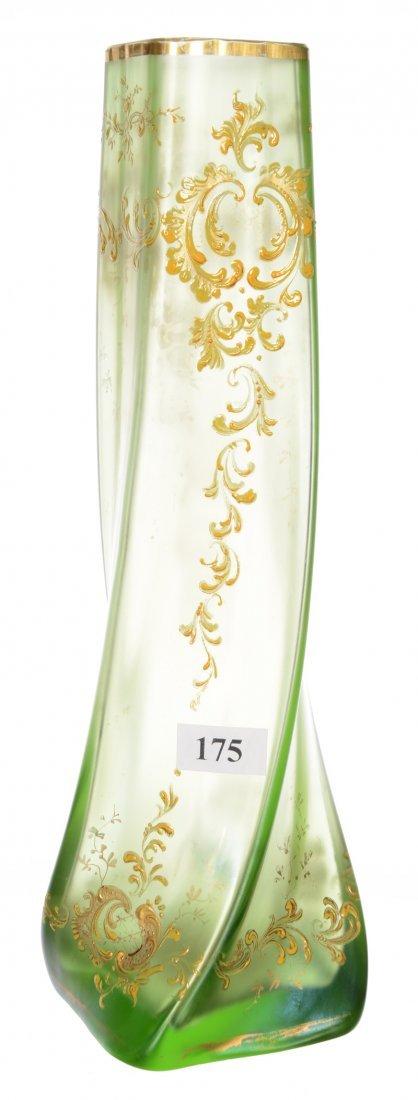 "10.75"" GREEN ART GLASS SQUARE TWIST VASE"