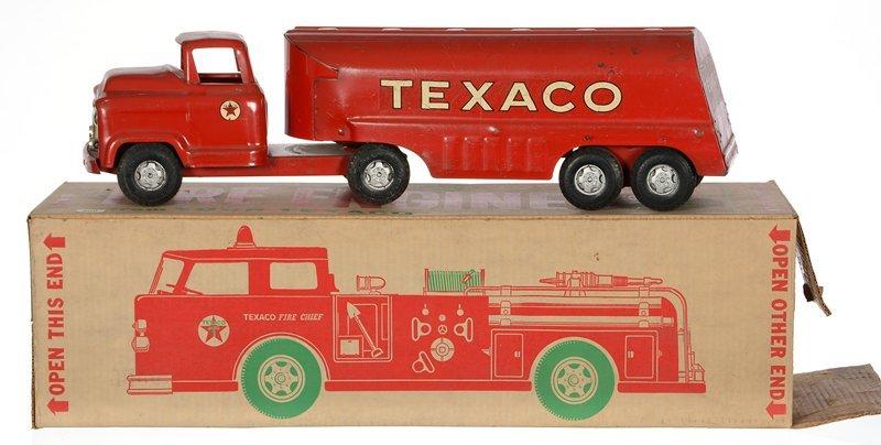 (2) TEXACO PRESSED STEEL OIL TRUCKS