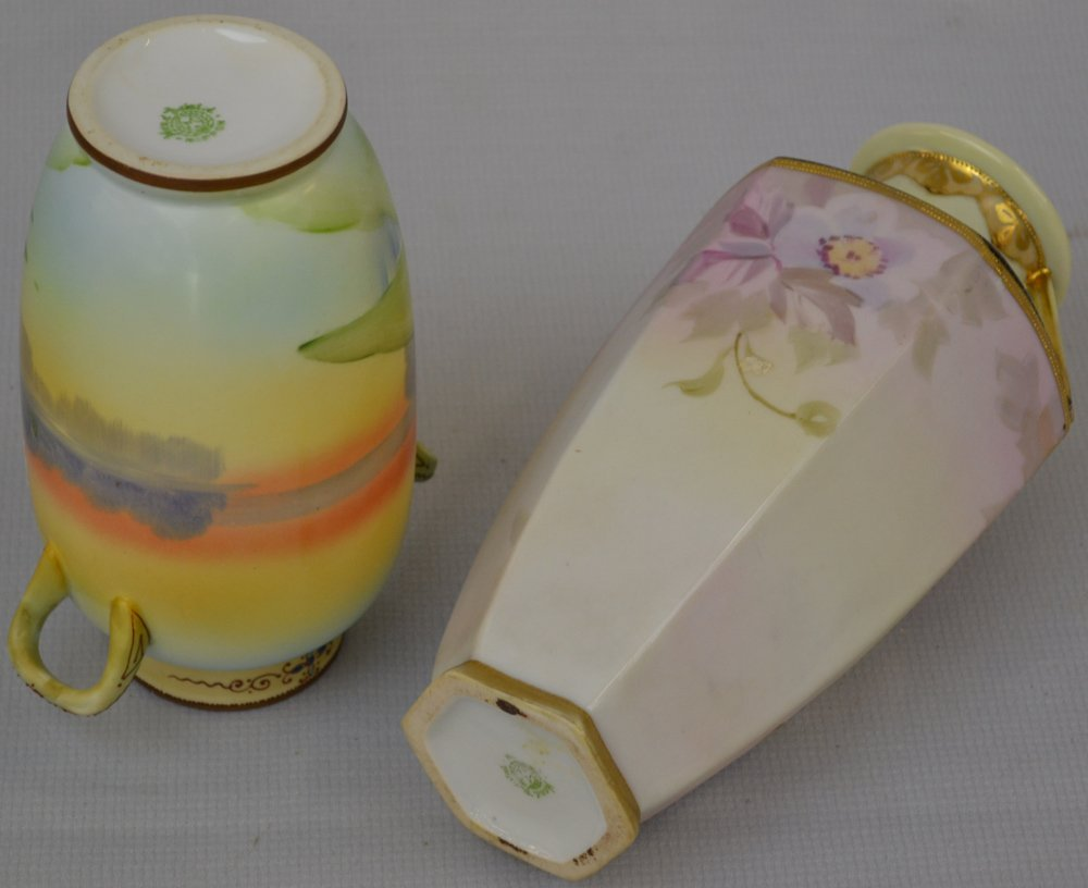 (2) NIPPON (GREEN WREATH MARK) HANDLED VASES - 2